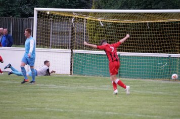 Macauley Finch opens the scoring vs Pelsall Villa - photo courtesy of Mathew Mason