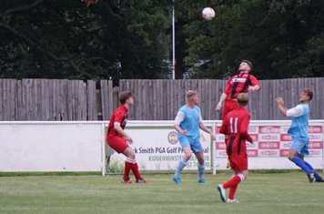Saebourne up for a header  vs Pelsall Villa - photo courtesy of Mathew Mason