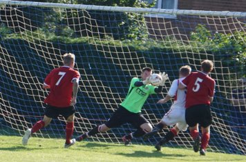 Matt Oliver saves vs Fairfield Villa (A) photo courtesy of Mathew Mason