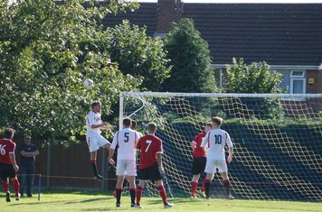 Brad Burgess defends a corner vs Fairfield Villa (A) photo courtesy of Mathew Mason