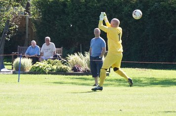 Horror moment for home 'keeper vs Fairfield Villa (A) photo courtesy of Mathew Mason