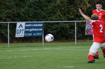 Brad Burgess fires in the 3rd goal  vs Pegasus Juniors (A) FA Vase 1QR - photo courtesy of Mathew Mason