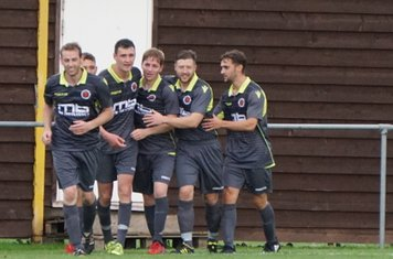 Players celebrate James Lemon's goal  vs Pegasus Juniors (A) FA Vase 1QR - photo courtesy of Mathew Mason