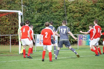 Haydn Morris's shot hits the woodwork  vs Pegasus Juniors (A) FA Vase 1QR - photo courtesy of Mathew Mason