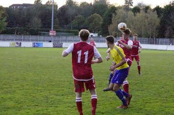 Max Crisp wins a header v Alcester Town (H) - photo courtesy of Mathew Mason