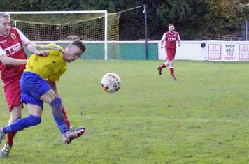 Louis Bridges & Town's Kyle Xavier v Alcester Town (H) - photo courtesy of Mathew Mason