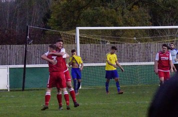 Jack Allerton celebrates his goal with Chris Glover v Alcester Town (H) - photo courtesy of Mathew Mason