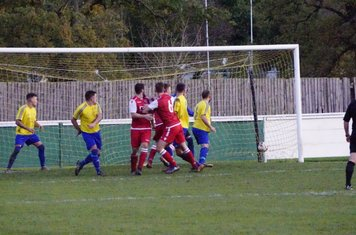 Allerton's header nestles in the bottom corner  v Alcester Town (H) - photo courtesy of Mathew Mason