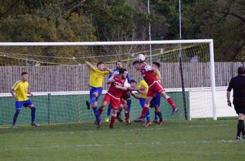Allerton rises to net the third Spa goal  v Alcester Town (H) - photo courtesy of Mathew Mason