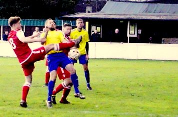 Max Crisp & Glover sandwich Stuart Hall  v Alcester Town (H) - photo courtesy of Mathew Mason