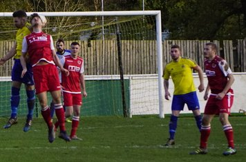 Jack Allerton challenging  v Alcester Town (H) - photo courtesy of Mathew Mason