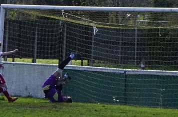 Unorthodox goalkeeping from the visiting 'keeper  v Bloxwich Town (H) photo courtesy of Mathew Mason