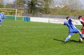 Nick Seabourne is hacked down  v Bloxwich Town (H) photo courtesy of Mathew Mason