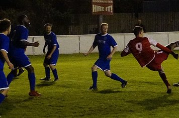 Lemon tries some acrobatics v Redditch Boro' (H) - photo courtesy of Mathew Mason