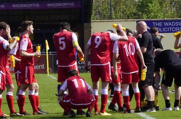 Saltmen having a drinks break in the heat v Moors Academy (A) photo courtesy of Mathew Mason