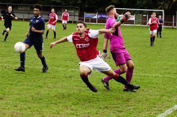 Brad Burgess fouled for a penalty vs Newport Town (A) photo courtesy of Mathew Mason
