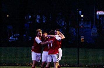 Spa celebrate Lemon's hat-trick vs Team Dudley (A) photo courtesy of Mathew Mason
