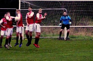 Saltmen defend a free kick vs Bustleholme (A) photo courtesy of Mathew Mason