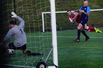 Chris Conway shoots vs Telford Juniors (A) photo courtesy of  Mathew Mason