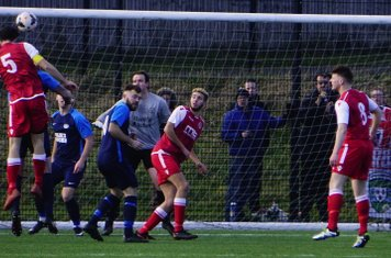 Mike Seeley wins a header vs Telford Juniors (A) photo courtesy of  Mathew Mason