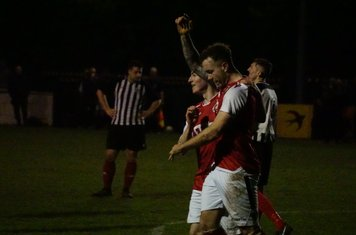 Conway celebrates his goal with Haydn Morris vs Wyrley (H) photo courtesy Mathew Mason