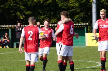 Jack Allerton congratulated on his wonder goal vs Bromyard Town (H) photo courtesy Mathew Mason