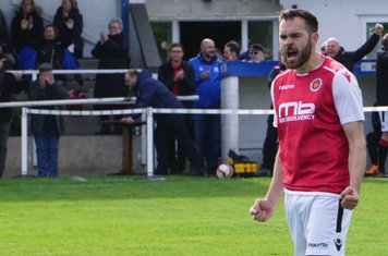 Mike Seeley celebrates the final whistle