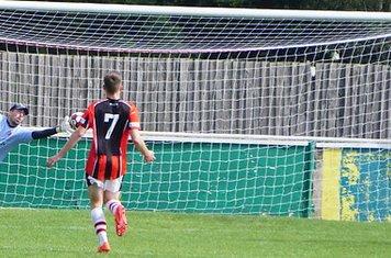 Matt Oliver saves vs Allscott Heath (H)- photo courtesy of Mathew Mason