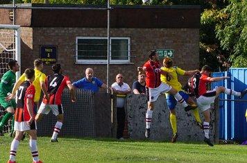 Spa defend vs Tividale (A) photo courtesy of Mathew Mason