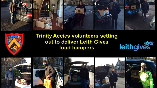 Pics of Trinity Accies volunteers setting off to deliver Leith Gives food hampers