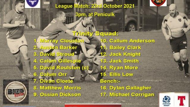 Next Match: Penicuik RFC v Trinity Accies, 23th Oct 2021, 3pm, at Penicuik