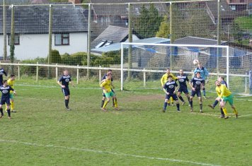 Matty Hughes flicks the ball on