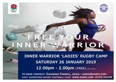 EGRFC Inner Warrior Ladies Rugby Camp - Saturday 26 January 2019