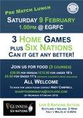 EGRFC Pre Match Lunch - Saturday 9 February 2019