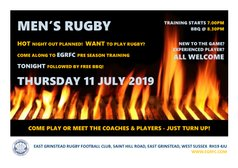 SENIOR MEN'S PRE SEASON TRAINING & *FREE* BBQ TONIGHT