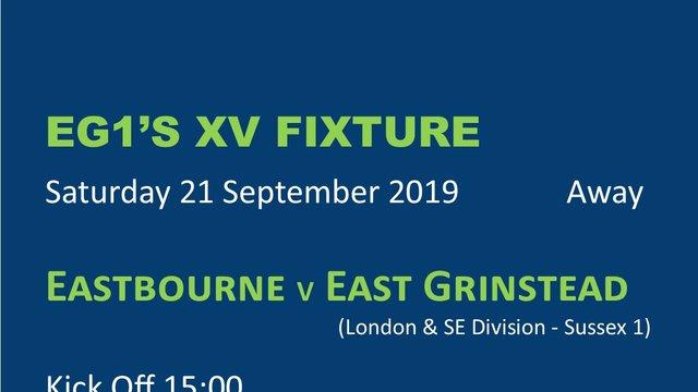 Fixture: MENS EG1's XV AWAY THIS SATURDAY - 21 SEPTEMBER 2019