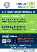 Great LIVE Rugby this Saturday - 5 October 2019