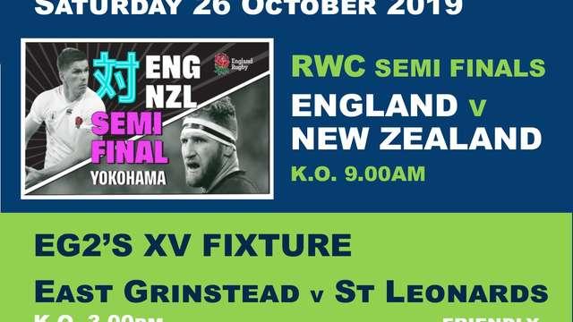 EG1's & EG2's Fixtures - Saturday 26 October 2019