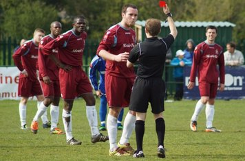 AFTER AN ALTERCATION WITH JAKE-BRENTWOOD CAPTAIN RED CARDED.
