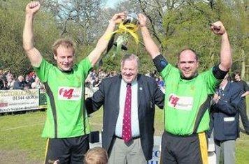 (2010) Bracknell captain Ben Novak (left) celebrates the winning of the Berkshire Cup with Greg Anstead (Photo courtesy of Bracknell News)