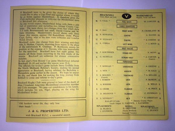 1985 - Berks Cup Final Program vs Maidenhead