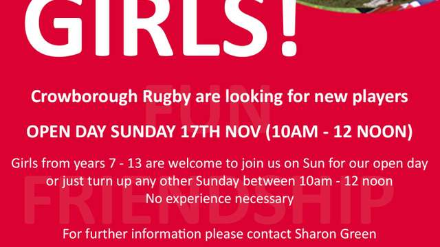 Girls Rugby Open Day this Sun at Crowborough RFC