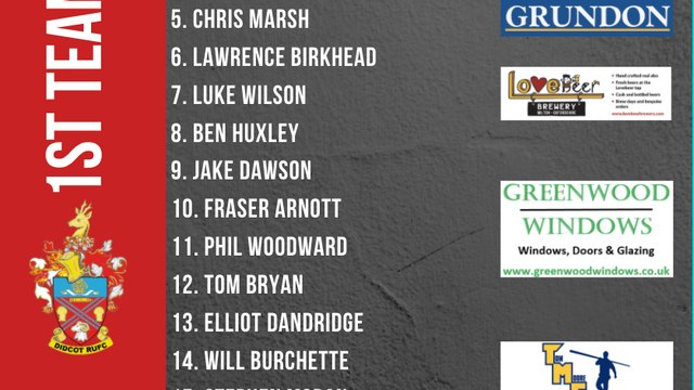 First Team Squad for Away game to Crowthorne