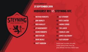 TEAM ANNOUNCEMENT - Midhurst v Steyning 21 - 09 - 19