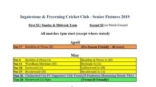 IFCC Senior Fixtures 2019