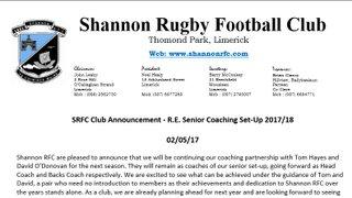 SRFC Club Announcement - R.E. Senior Coaching Set-Up 2017/18
