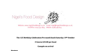 SOLD OUT - The 125 Birthday Celebration pre-match lunch