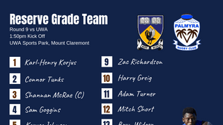 Reserve Grade Team Named for Round 9 Clash