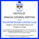 Palmyra Rugby Union Club AGM