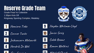 Reserve Grade Team Named for Grand Final